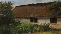 whitewashed farmhouse with flowers and trees in the foreground by hans ludvig smidth