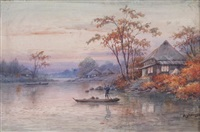 on the river at dusk (+ river scene; pair) by a. yoshida