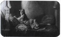 jeune femme etendue et vase fleuri by lauret the elder
