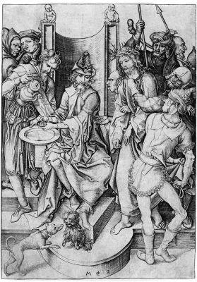 christus vor pilatus by martin schongauer