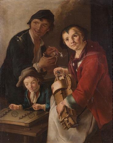 suonatrice di gironda ragazzo con salterio e giovane con brocca e pipa by giacomo francesco cipper