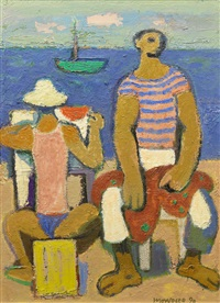 two fishermen of castellabate by alberto morrocco