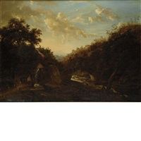 rugged landscape with figures beside a mill by frederick richard lee