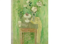 green still life with white roses by william george gillies