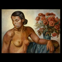 female nude with chrysanthemums by jacob bleibtrau