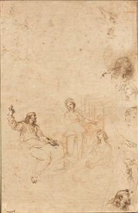 personnages (study)(recto/verso) by michel corneille the younger