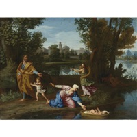moses cast into the nile by nicolas colombel