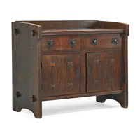 early sideboard with butterfly insets by gustav stickley