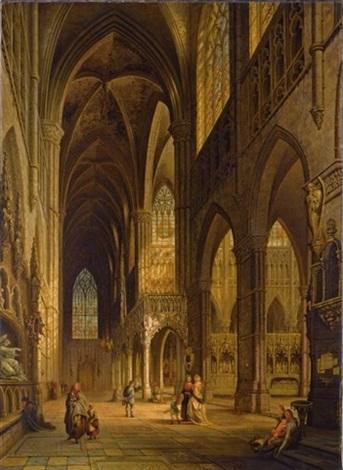 vue du transept de leglise cathedrale damiens by jules victor genisson