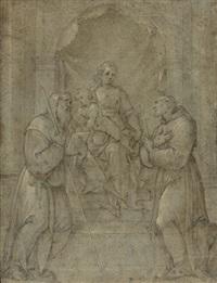vierge à l'enfant avec deux saints franciscains by avanzino nucci