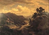 zwei wanderer in gebirgslandschaft by leonhard rausch