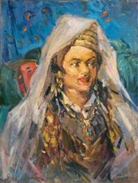 portrait de femme en costume oriental by ibrahim safi