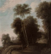 a wooded landscape with a shepherd and his flock on a track by cornelis hendriksz vroom