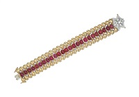 ruby, diamond, and gold bracelet by tiffany & company