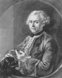 homme caressant son chien, vus dans un médaillon by giuseppe baldrighi