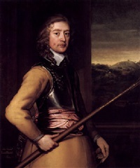 portrait of john, 2nd baron poulett wearing a buff tunic and breastplate and red sash and holding a staff by john hayls