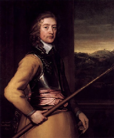 portrait of john 2nd baron poulett wearing a buff tunic and breastplate and red sash and holding a staff by john hayls