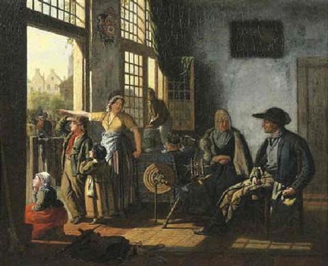 a woman and her children in an interior by an open door an old couple by a spinning wheel seated nearby townsfolk beyond by cornelis van cuylenburg