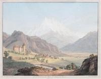 vue de la dent du midi et du chateau de lanex by jean-antoine linck