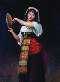 girl with tambourine by jules françois pages