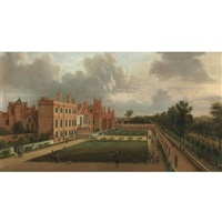 a view of st. james's and the gardens overlooking st. james's park from the south west by hendrick danckerts
