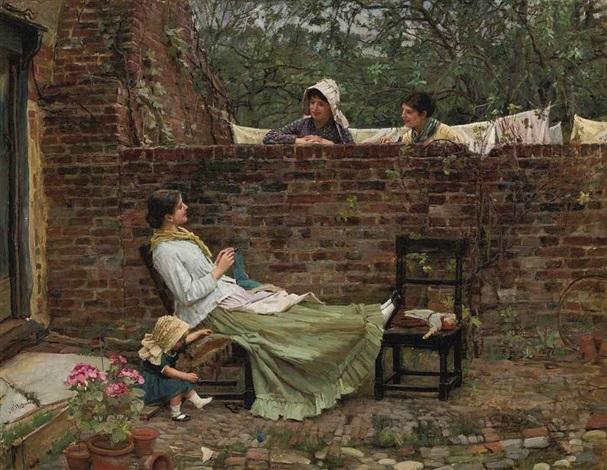 gossip by john william waterhouse