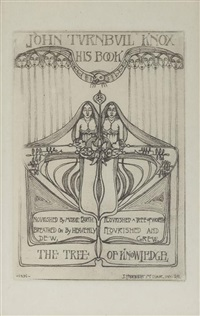 bookplate for john turnbull knox by james herbert mcnair