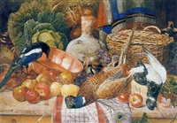 a magpie with a still life of pheasant, oyster catcher, a brass pan, fruit, vegetables, a stoneware vase and holly by martin snape
