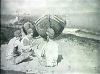kortspelande pojkar pa strand, motiv fran neapel by michael ciardiello