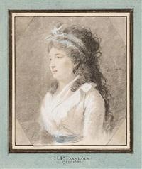 halbfigürliches bildnis einer jungen frau mit schwarzem langem haar by henri-pierre danloux