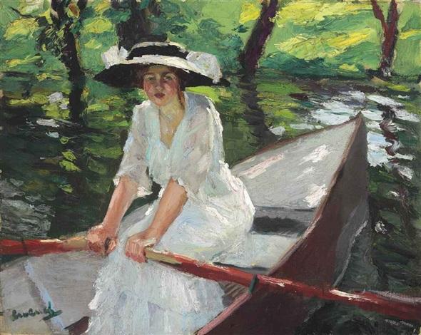 woman in rowboat by edward cucuel