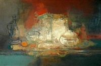 still life with orange and vessels by françois heaulmé