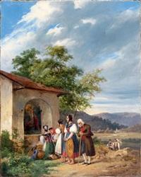 villageois en prière devant un autel dans la vallée du comminges by charles caius renoux