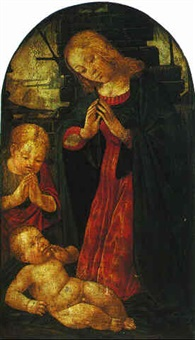 the madonna and child with the infant saint john the baptist by jacopo del sellaio