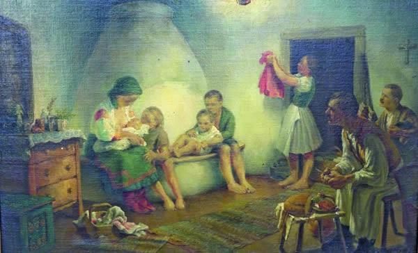 ungarisch bäuerliche familienidylle in einer stube by imrev mosdóssy