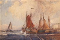 sailboats leaving port by georges chavignaud