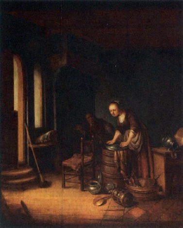 a maid scouring a platter with a man smoking near a fireplace in a kitchen interior by jacob van spreeuwen
