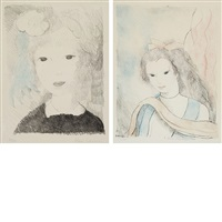 ma petite fille a la rose; belle (2 works) by marie laurencin