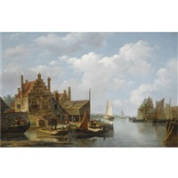 a view of a riverside village by frans jacobus van den blyk