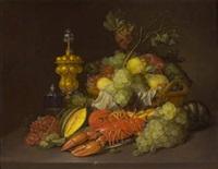 nature morte au panier de fruits, au homard, grappes de raisin et pièces d'orfèvrerie sur un entablement by walter mertens