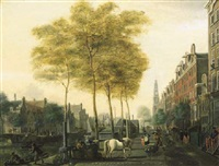 a view of the prinsengracht, amsterdam looking north-west with the bridge towards the lauriersgracht on the left and the westerkerk beyond by nicolas baur