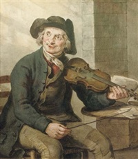 a violin player by jan adriaan antonie de lelie