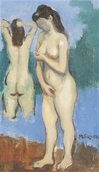 two female nudes by moses soyer