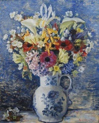 spring bunch in a blue & white jug by nora heysen