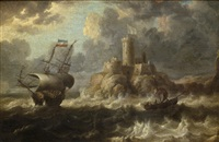 shipping off the coast with a castle in the distance by bonaventura peeters the elder