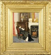 femme au chat, lisant dans un intérieur by victor fontaine