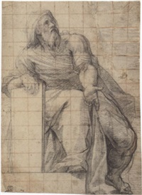 study for a seated prophet by cristoforo casolani