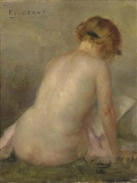 seated nude figure by emmanuel fougerat