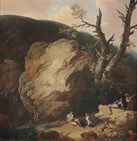 a rocky landscape with soldiers and other figures resting and conversing by andrea locatelli