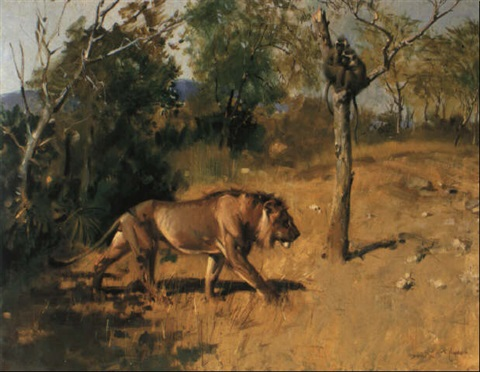 a lion and a pair of blue ververt monkeys by terence cuneo
